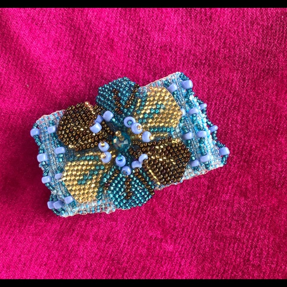 Blue Bracelet made with Blue chaquira glass beads with cotton knotted yarn